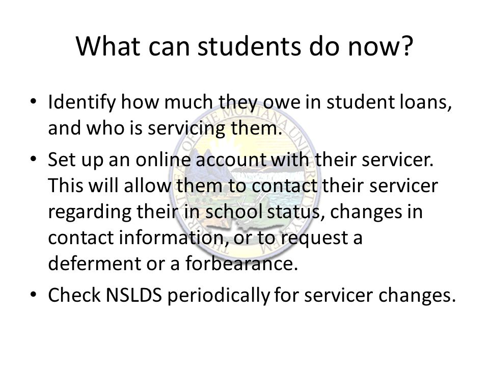 What can students do now. Identify how much they owe in student loans, and who is servicing them.