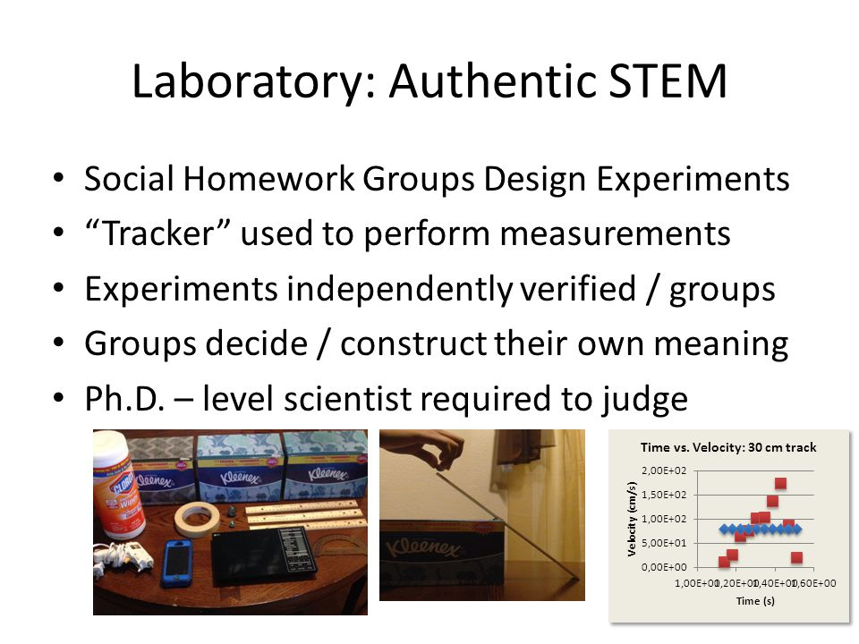 Laboratory: Authentic STEM Social Homework Groups Design Experiments Tracker used to perform measurements Experiments independently verified / groups Groups decide / construct their own meaning Ph.D.