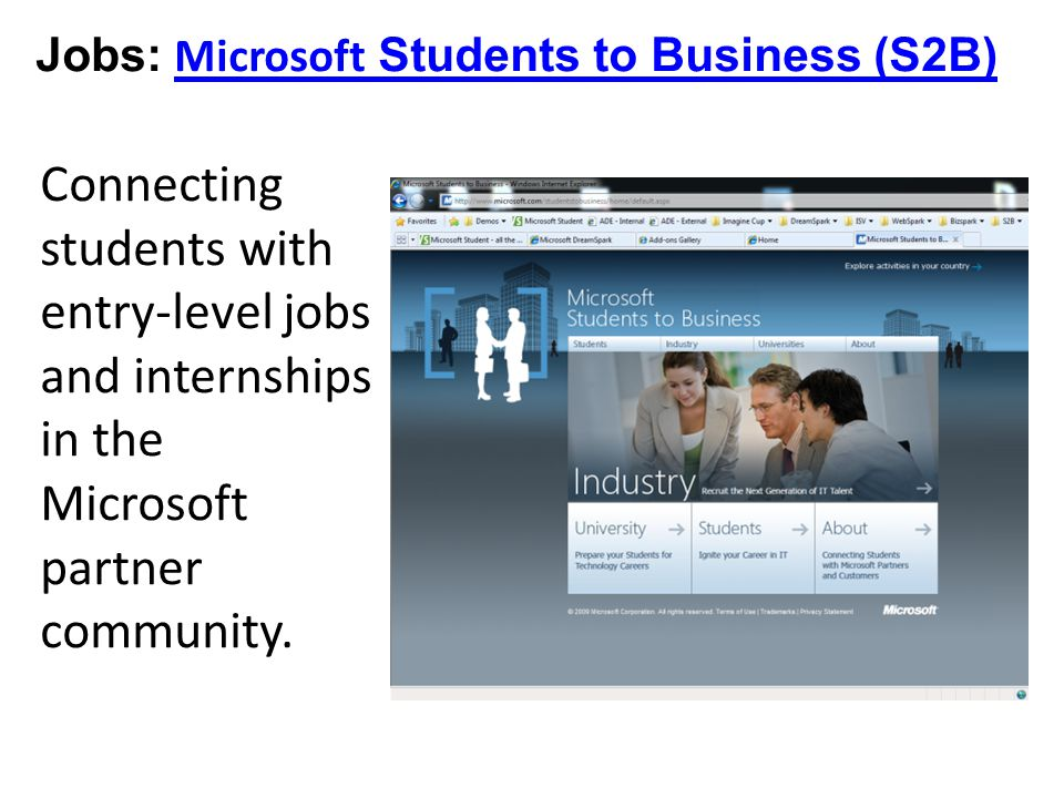 Jobs: Microsoft Students to Business (S2B) Microsoft Students to Business (S2B) Connecting students with entry-level jobs and internships in the Microsoft partner community.