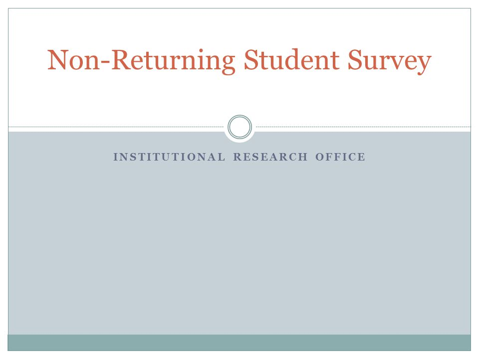 Demographics Students enrolled in spring 2010 who did not return in fall 2010 or spring 2011.
