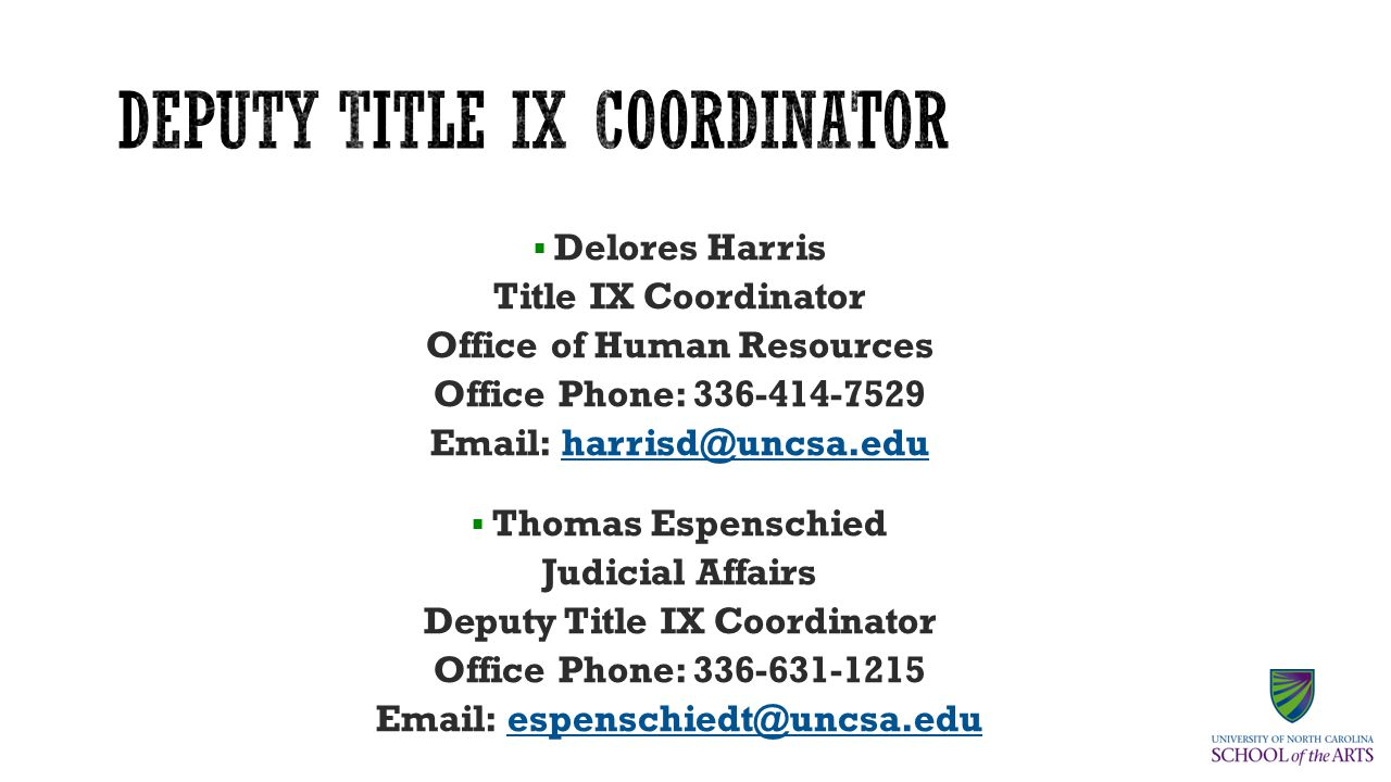  James Lucas Title IX Coordinator Office of Human Resources Office Phone: 336-770-3317 Email: lucasj@uncsa.edulucasj@uncsa.edu