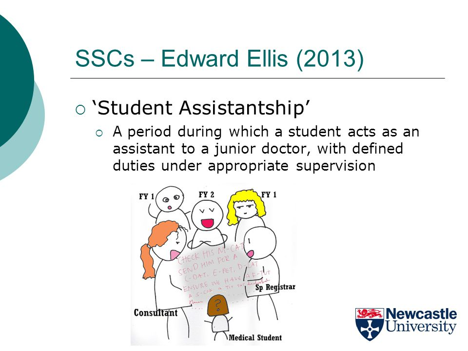 SSCs – Edward Ellis (2013)  'Student Assistantship'  A period during which a student acts as an assistant to a junior doctor, with defined duties under appropriate supervision