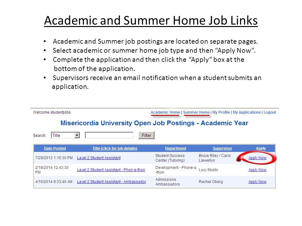 "Academic and Summer Home Job Links Academic and Summer job postings are located on separate pages. Select academic or summer home job type and then ""A"