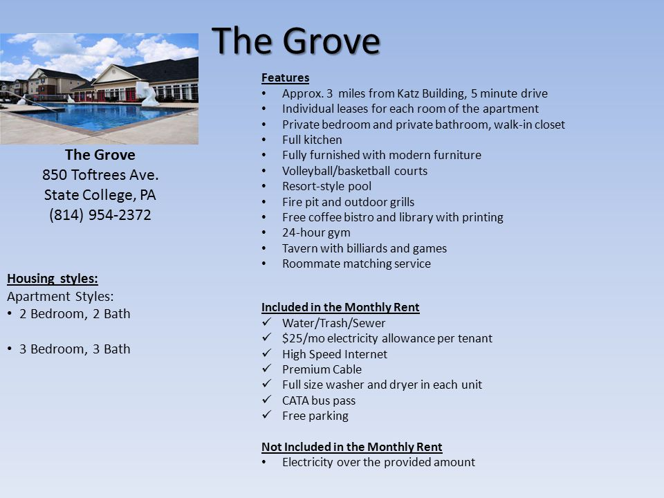 The Grove Features Approx.