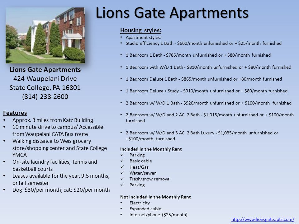 Lions Gate Apartments Features Approx.