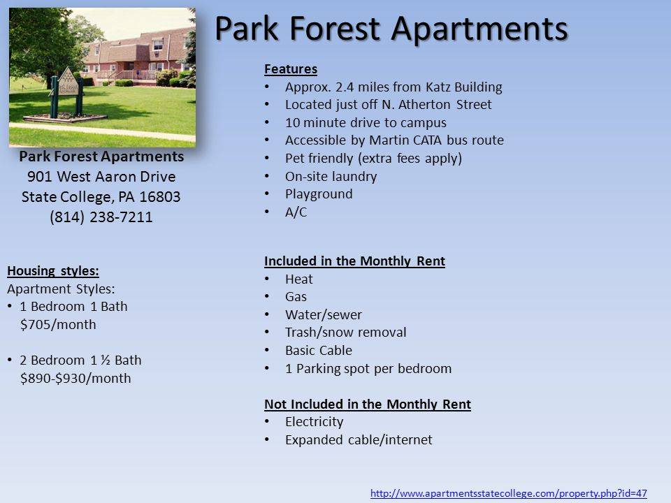 Park Forest Apartments Features Approx. 2.4 miles from Katz Building Located just off N.