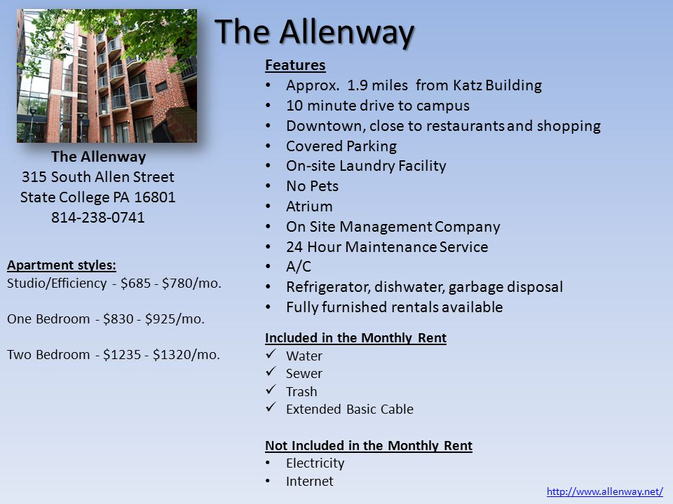 The Allenway Features Approx.