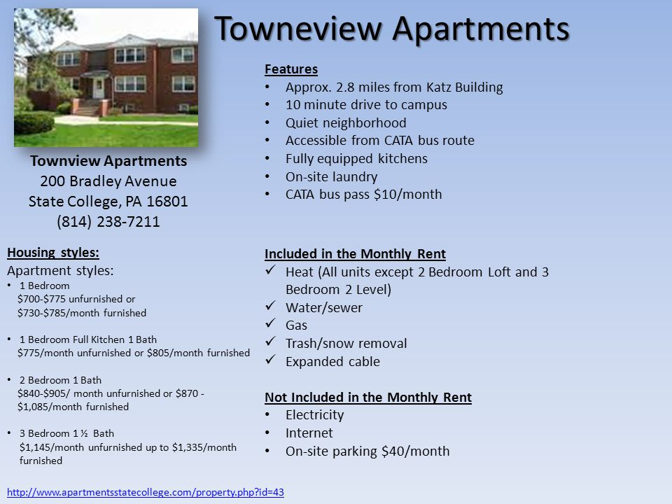 Towneview Apartments Features Approx.