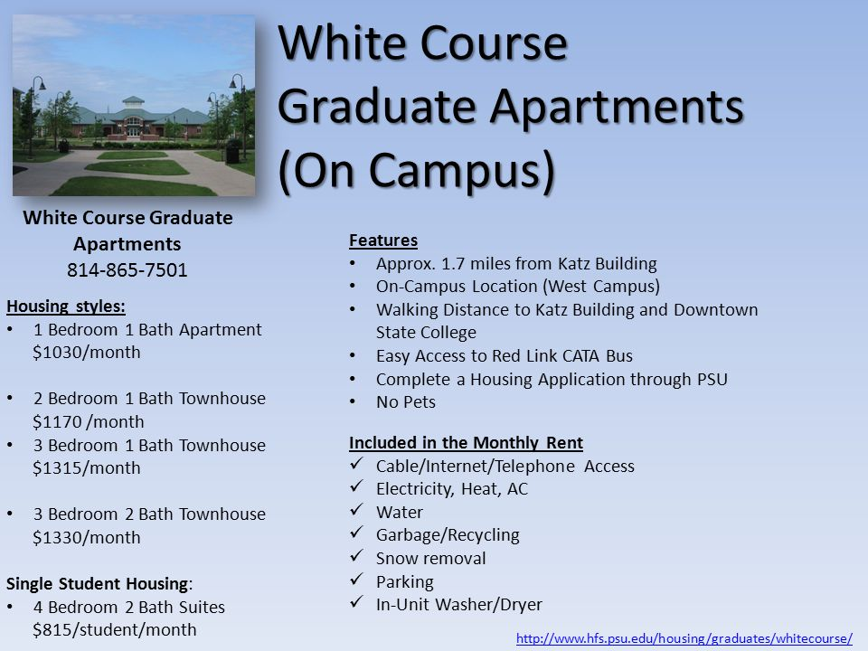 White Course Graduate Apartments (On Campus) Features Approx.