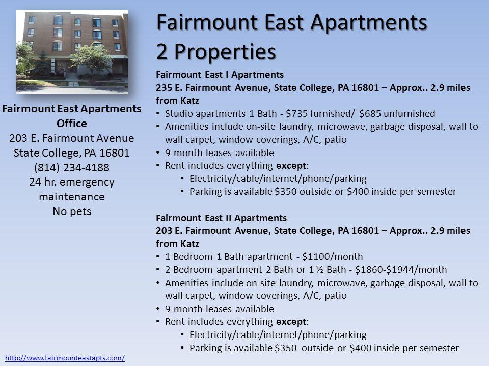 Fairmount East Apartments 2 Properties Fairmount East Apartments Office 203 E.