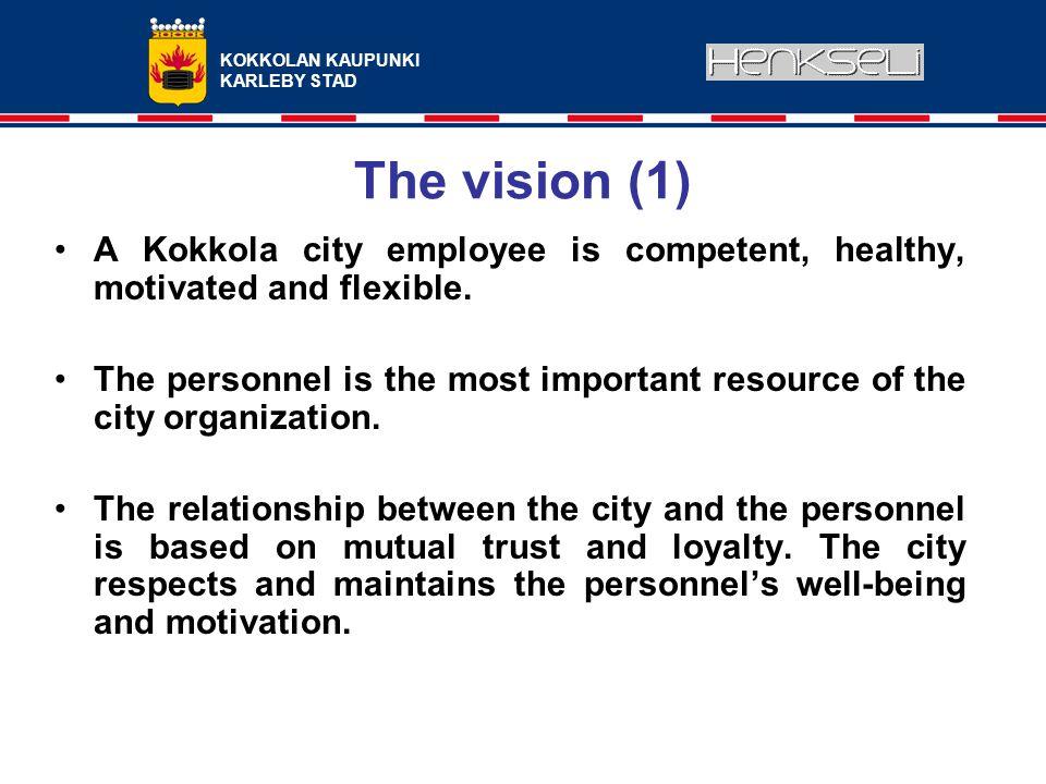 KOKKOLAN KAUPUNKI KARLEBY STAD The vision (1) A Kokkola city employee is competent, healthy, motivated and flexible.