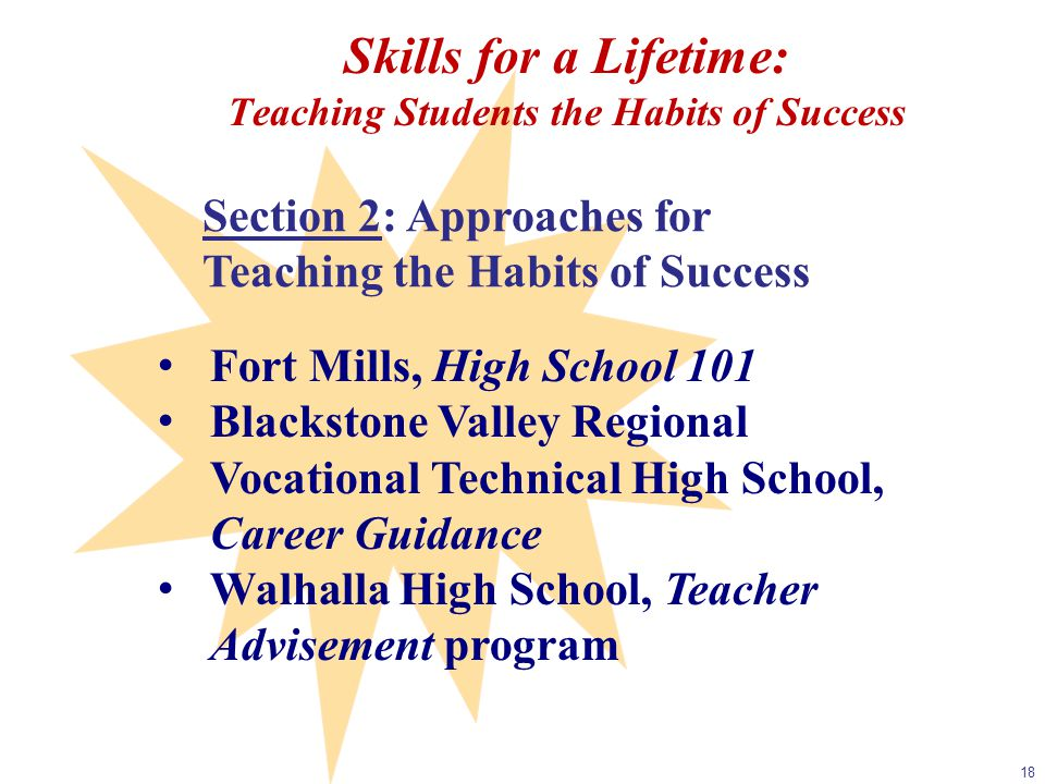 Skills for a Lifetime: Teaching Students the Habits of Success 18 Section 2: Approaches for Teaching the Habits of Success Fort Mills, High School 101 Blackstone Valley Regional Vocational Technical High School, Career Guidance Walhalla High School, Teacher Advisement program
