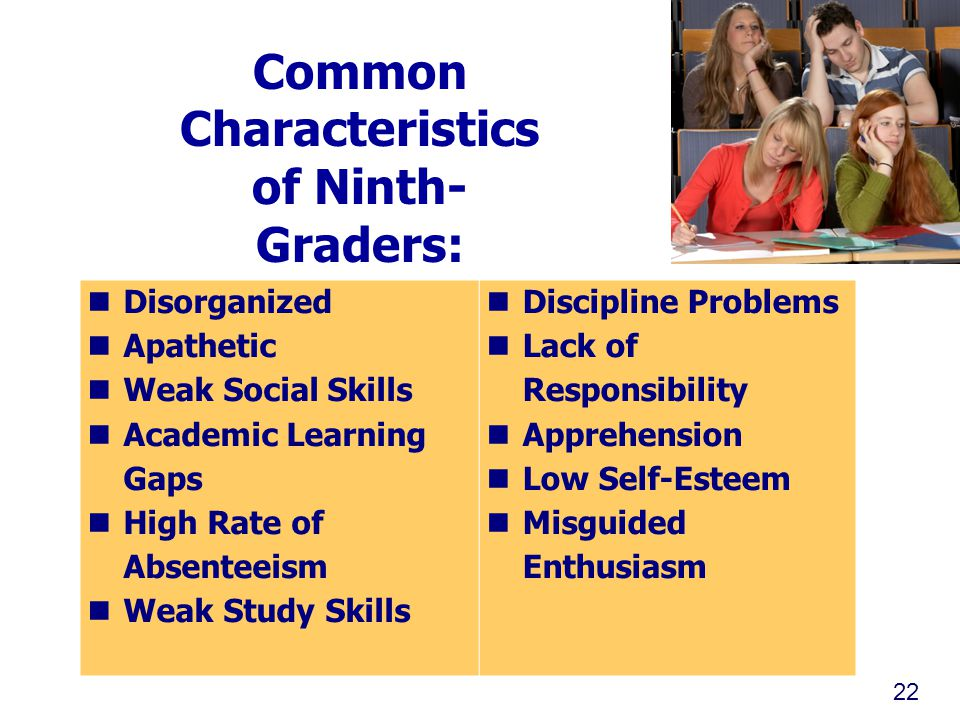 Common Characteristics of Ninth- Graders: Disorganized Apathetic Weak Social Skills Academic Learning Gaps High Rate of Absenteeism Weak Study Skills Discipline Problems Lack of Responsibility Apprehension Low Self-Esteem Misguided Enthusiasm 22