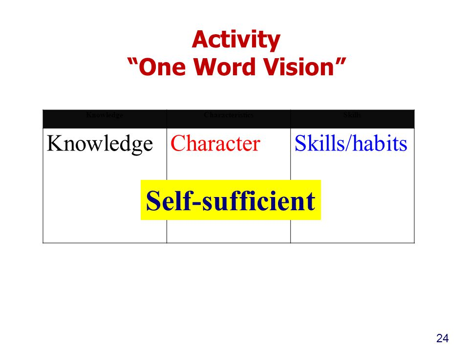 Activity One Word Vision 24 KnowledgeCharacteristicsSkills KnowledgeCharacterSkills/habits Self-sufficient