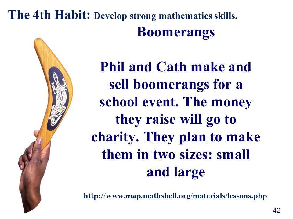 Boomerangs Phil and Cath make and sell boomerangs for a school event.