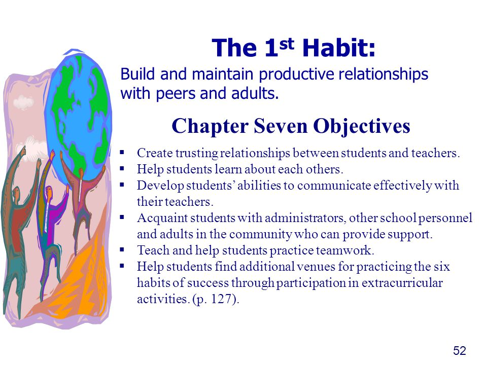 The 1 st Habit: Build and maintain productive relationships with peers and adults. 52 Chapter Seven Objectives  Create trusting relationships between