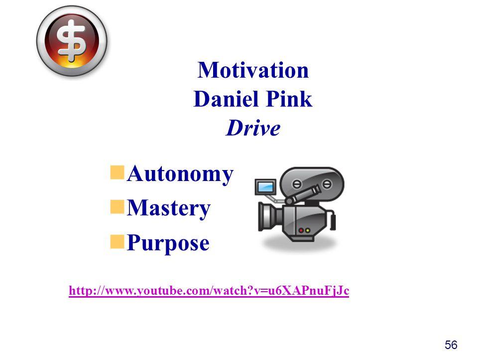 Motivation Daniel Pink Drive Autonomy Mastery Purpose 56 http://www.youtube.com/watch v=u6XAPnuFjJc