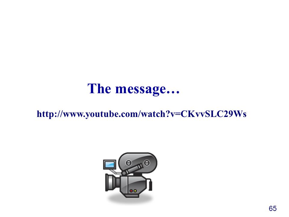 The message… 65 http://www.youtube.com/watch v=CKvvSLC29Ws