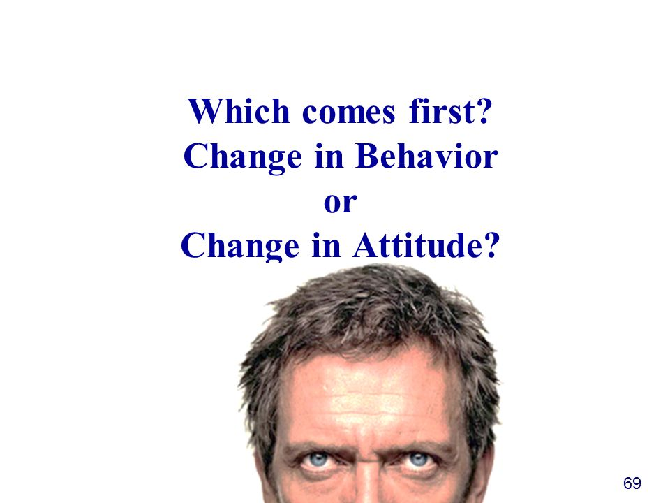 Which comes first? Change in Behavior or Change in Attitude? 69