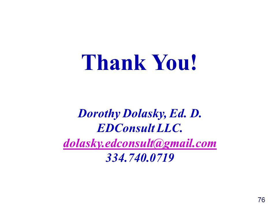 76 Dorothy Dolasky, Ed. D. EDConsult LLC.