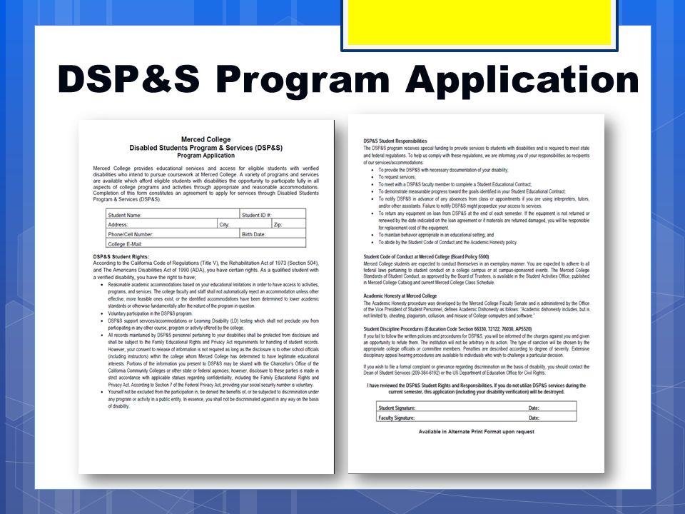 DSP&S Program Application