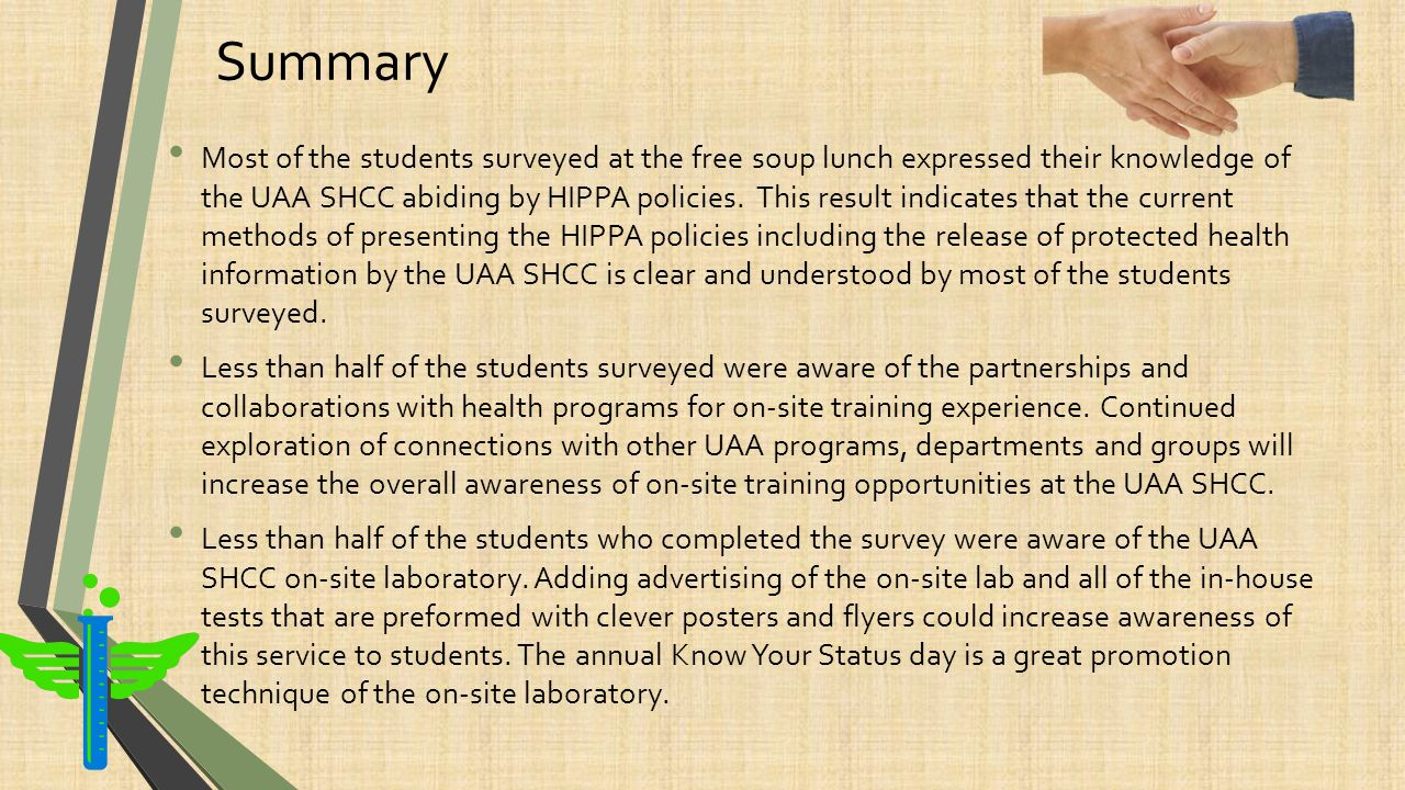 Summary Approximately a quarter of the students surveyed reported a knowledge of the availability of referrals to local imaging services, at a reduced contract rate for eligible students.