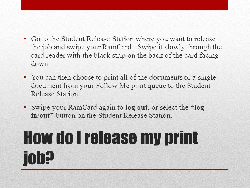 How do I release my print job.