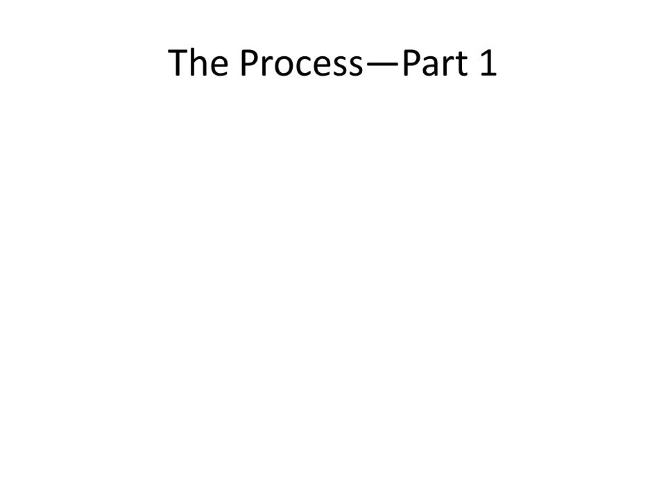 The Process—Part 1