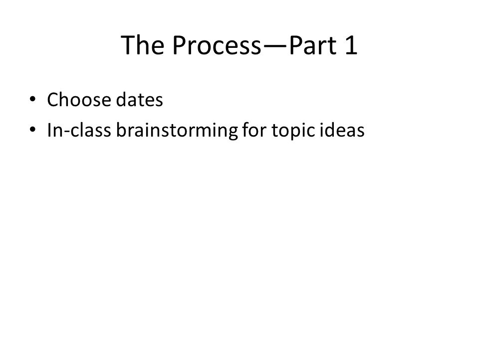 The Process—Part 1 Choose dates In-class brainstorming for topic ideas