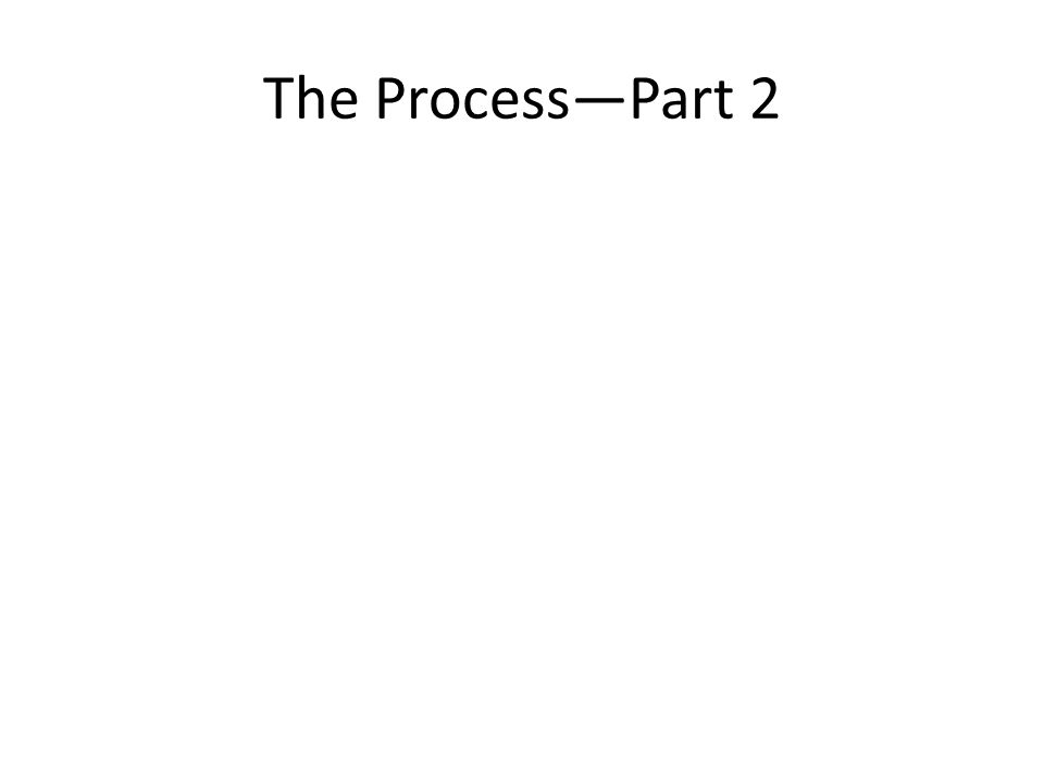 The Process—Part 2