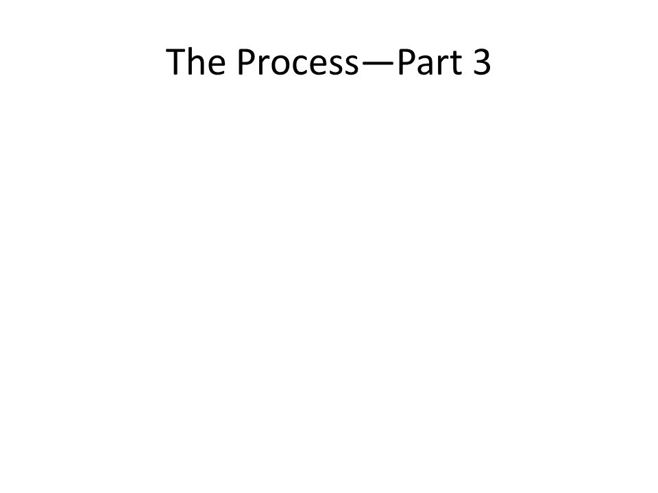 The Process—Part 3