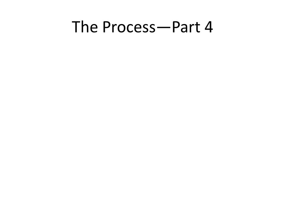 The Process—Part 4
