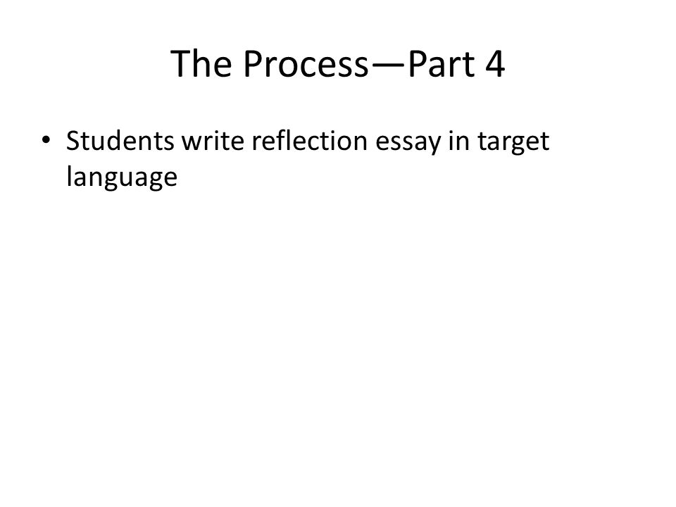 Students write reflection essay in target language