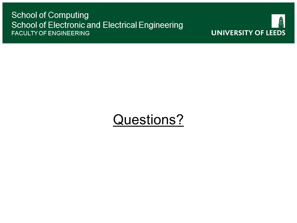 School of Computing School of Electronic and Electrical Engineering FACULTY OF ENGINEERING Questions
