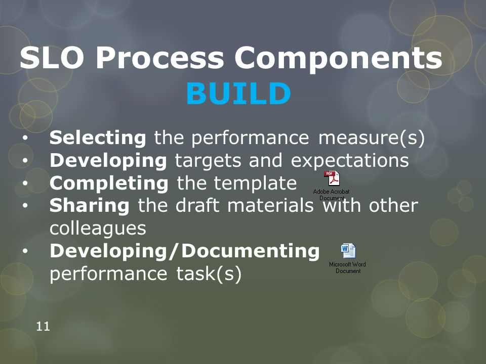 11 SLO Process Components BUILD Selecting the performance measure(s) Developing targets and expectations Completing the template Sharing the draft mat