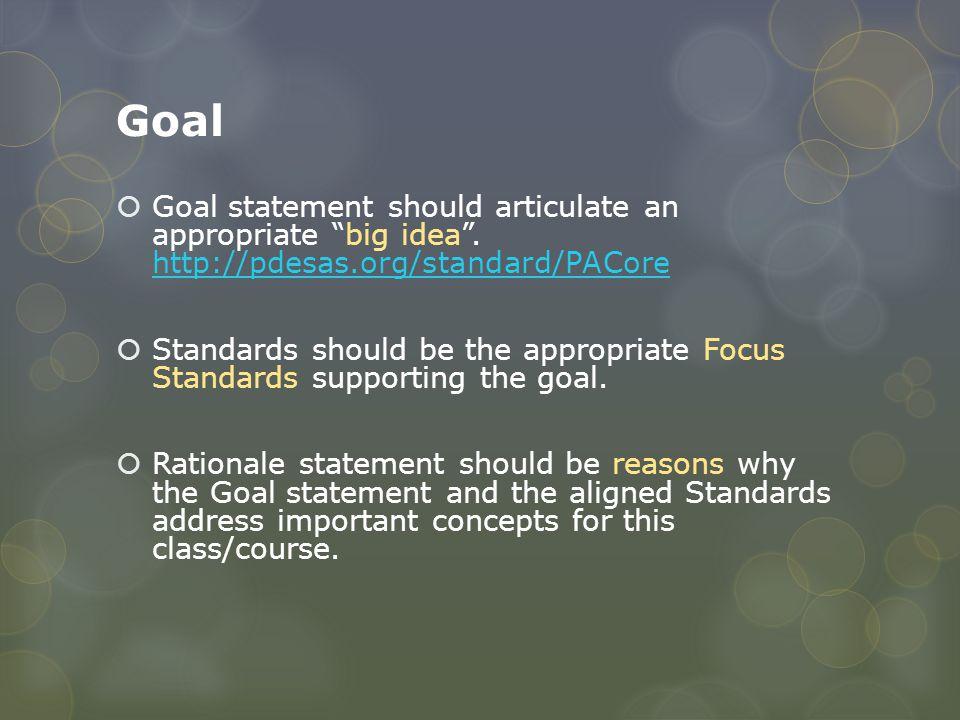 "Goal  Goal statement should articulate an appropriate ""big idea"". http://pdesas.org/standard/PACore http://pdesas.org/standard/PACore  Standards sho"