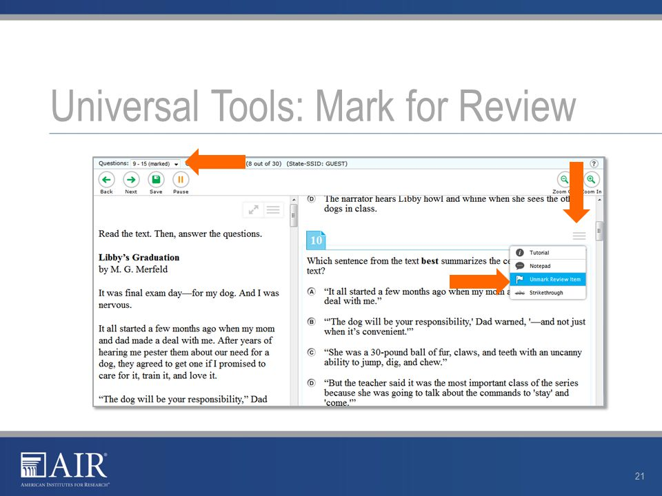 Universal Tools: Mark for Review 21
