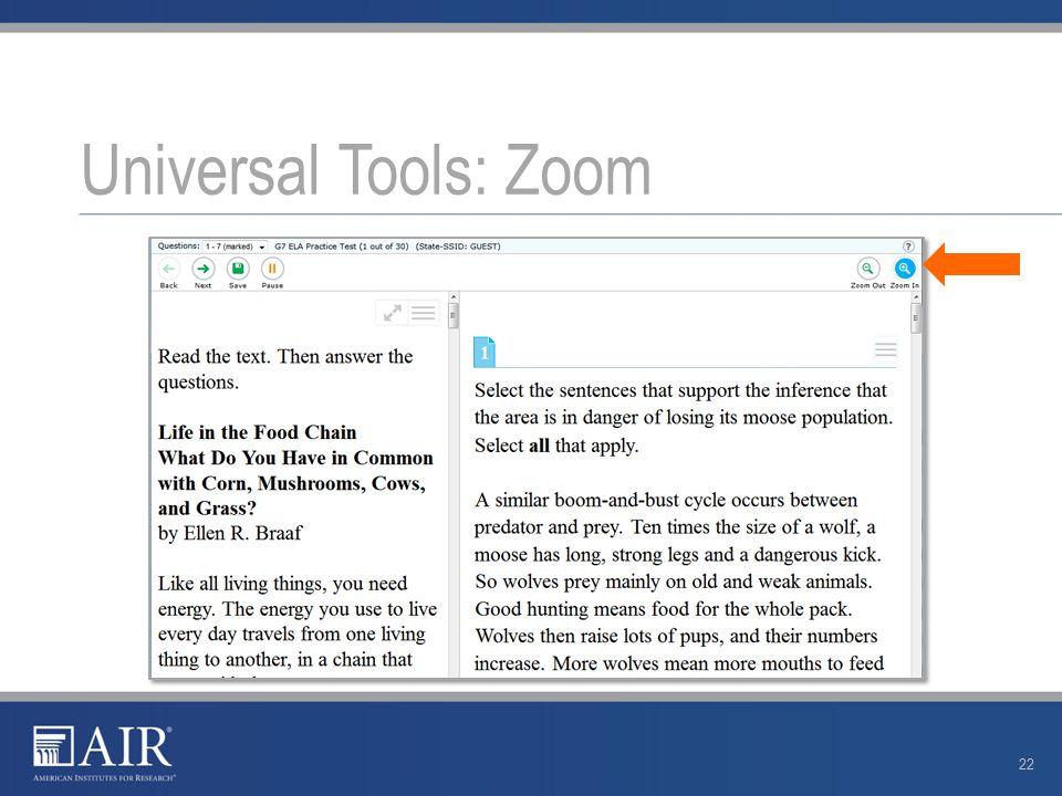Universal Tools: Zoom 22