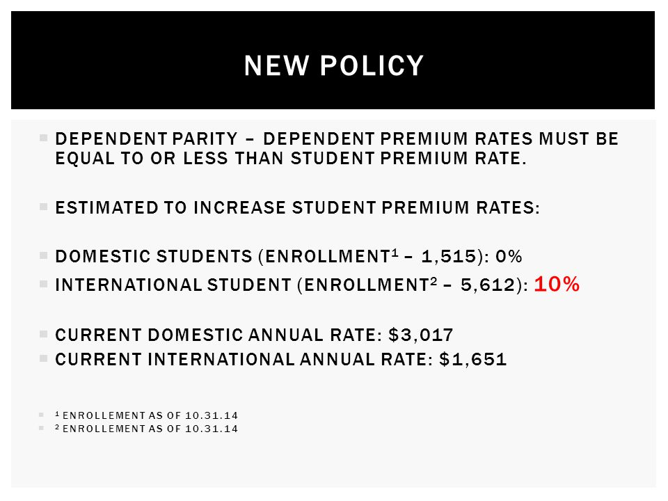  DEPENDENT PARITY – DEPENDENT PREMIUM RATES MUST BE EQUAL TO OR LESS THAN STUDENT PREMIUM RATE.
