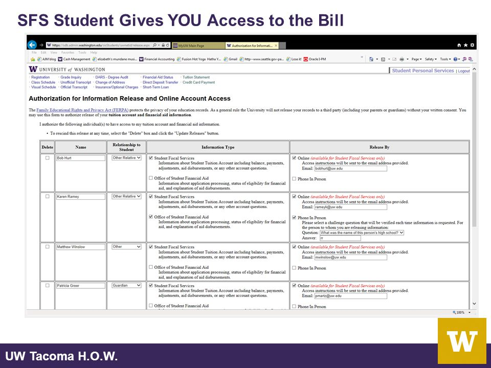 UW Tacoma H.O.W. SFS Student Gives YOU Access to the Bill