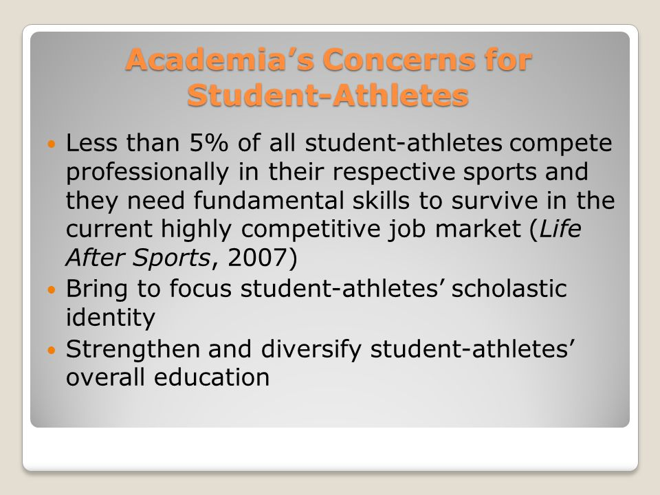 Purpose of the Study The president and other members of the National Collegiate Athletic Association (NCAA) made a call to action for academic research to bring the student-athletes' scholastic identity back into focus across a variety of disciplines.(Powers, 2008) This research is an attempt to initiate such research inquiries