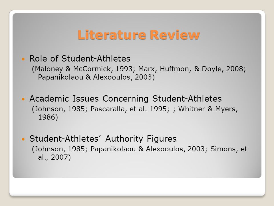 Literature Review Role of Student-Athletes (Maloney & McCormick, 1993; Marx, Huffmon, & Doyle, 2008; Papanikolaou & Alexooulos, 2003) Academic Issues