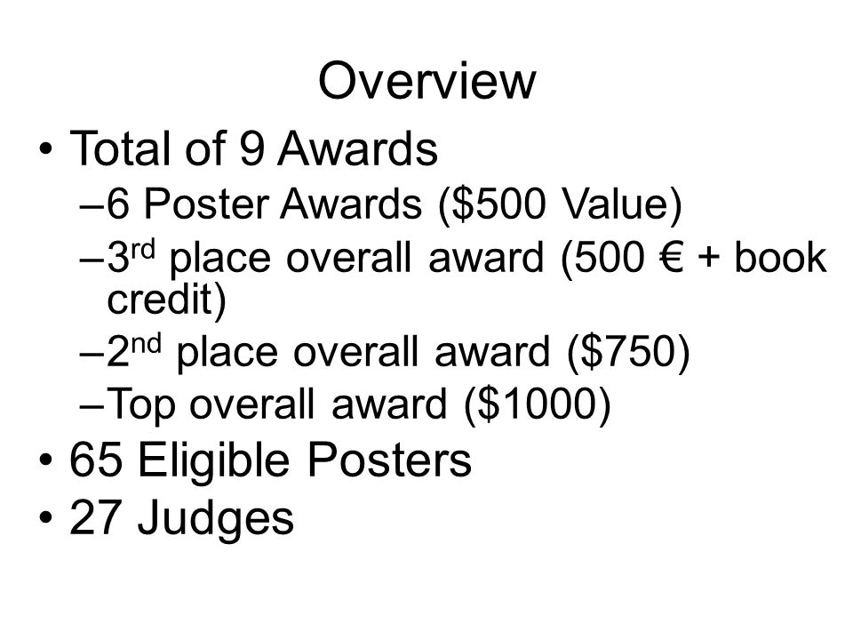 Overview Total of 9 Awards –6 Poster Awards ($500 Value) –3 rd place overall award (500 € + book credit) –2 nd place overall award ($750) –Top overall award ($1000) 65 Eligible Posters 27 Judges