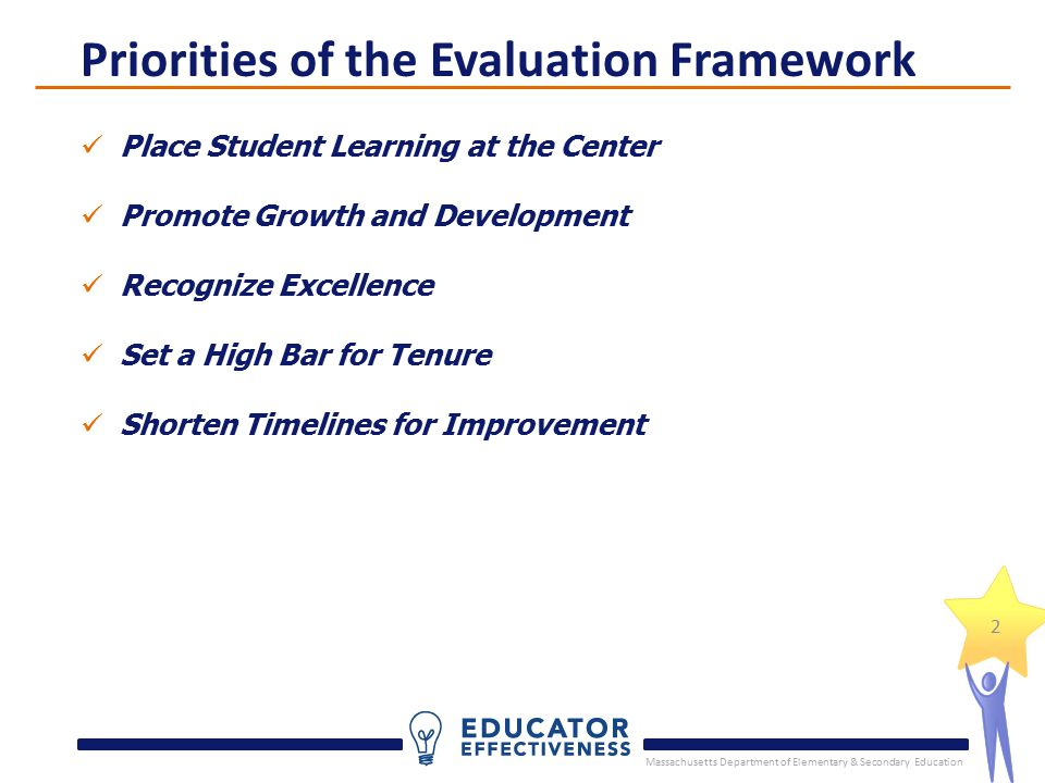 Massachusetts Department of Elementary & Secondary Education 2 Place Student Learning at the Center Promote Growth and Development Recognize Excellence Set a High Bar for Tenure Shorten Timelines for Improvement Priorities of the Evaluation Framework