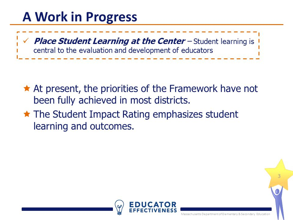 Massachusetts Department of Elementary & Secondary Education 3 Place Student Learning at the Center – Student learning is central to the evaluation and development of educators A Work in Progress  At present, the priorities of the Framework have not been fully achieved in most districts.