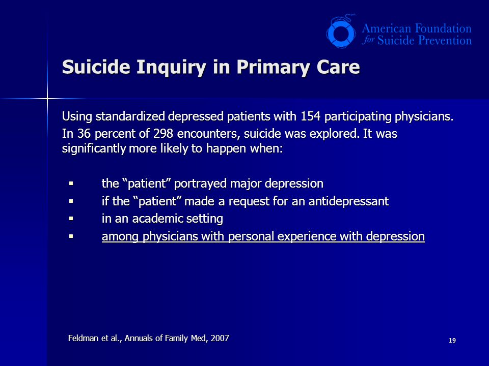 19 Suicide Inquiry in Primary Care Using standardized depressed patients with 154 participating physicians.