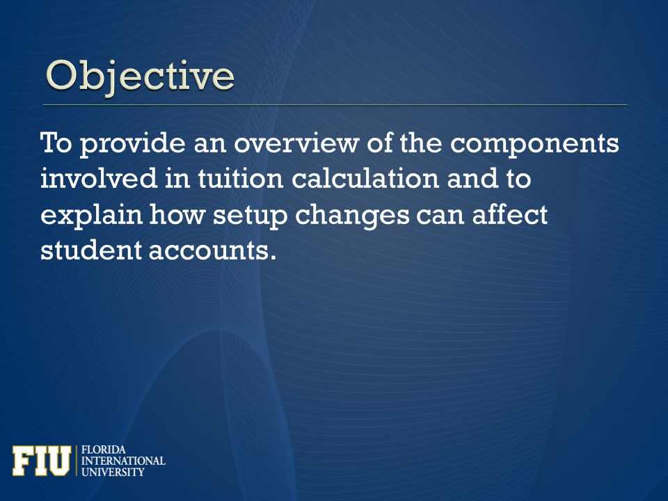 To provide an overview of the components involved in tuition calculation and to explain how setup changes can affect student accounts.