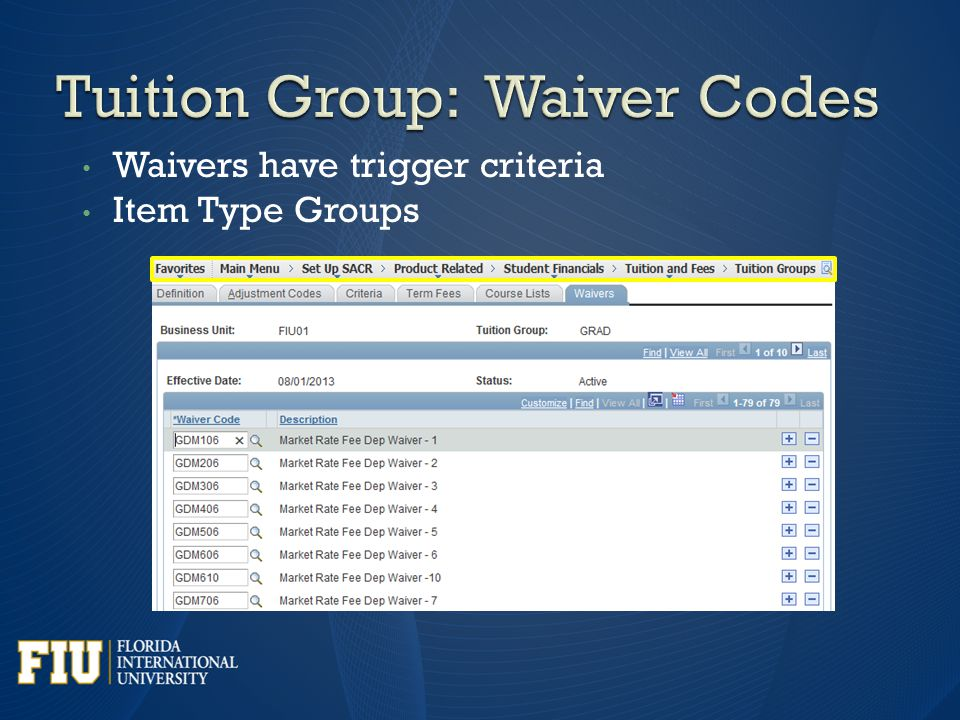 Waivers have trigger criteria Item Type Groups