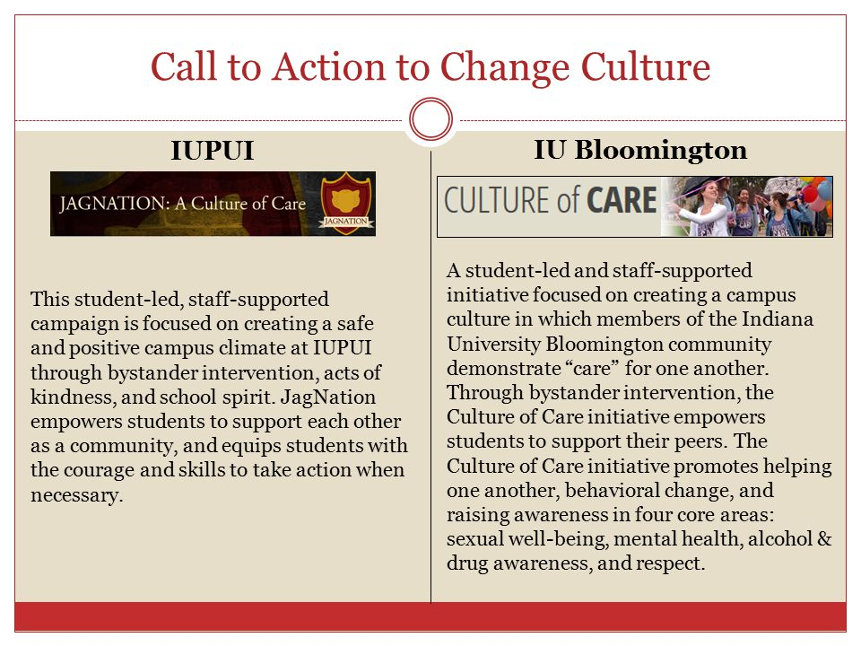 Call to Action to Change Culture A student-led and staff-supported initiative focused on creating a campus culture in which members of the Indiana University Bloomington community demonstrate care for one another.