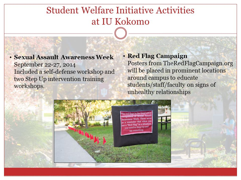 Student Welfare Initiative Activities at IU Kokomo Sexual Assault Awareness Week September 22-27, 2014 Included a self-defense workshop and two Step Up intervention training workshops.